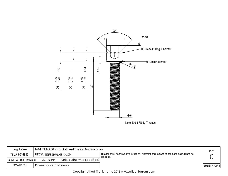 Inc 608993001 Grade 5 Ti-6Al-4V M6-1 Pitch X 30mm Socket Head Machine Screw Allied Titanium 0016849, Pack of 8