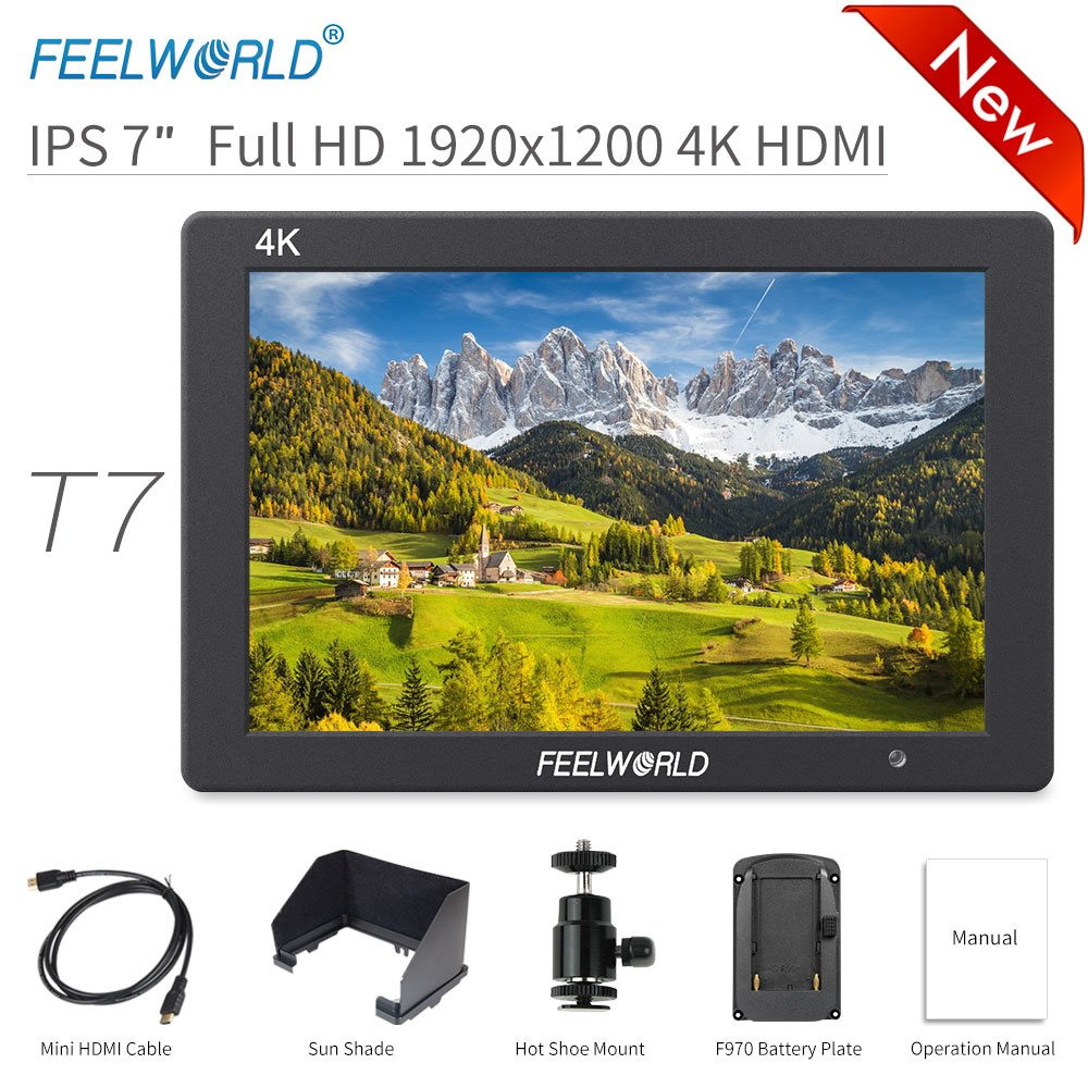 FEELWORLD T7 7 Inch DSLR On Camera Field Monitor Video Assist Full HD 1920x1200 4K HDMI Input Output with Peaking Focus Rugged Aluminum Housing by FEELWORLD