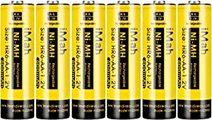 iMah HR6 AA Rechargeable Batteries for Solar Lights 600mAh 1.2V Ni-MH Battery for Outdoor Pathway Garden Lamps, Pack of 6