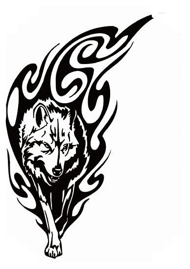 a2ffee6906367 Amazon.com: black tribal wolf large 8.25