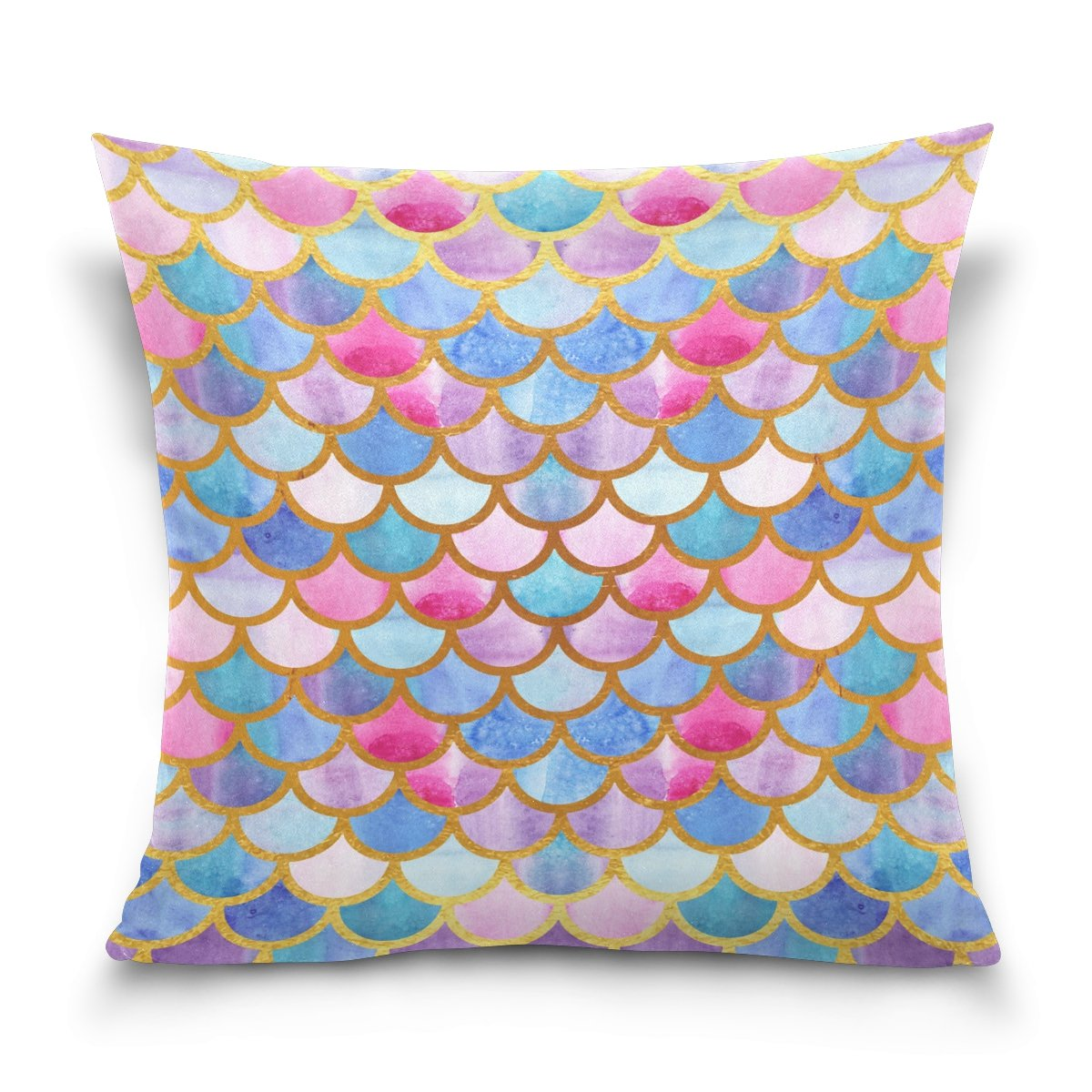 ALAZA Rainbow Mermaid Scale Cotton Pillowcase 20 X 20 Inches Twin Sides, Colorful Fish Scale Pillow Case Sham Cover Protector Decorative for Home Hotel Couch Ded