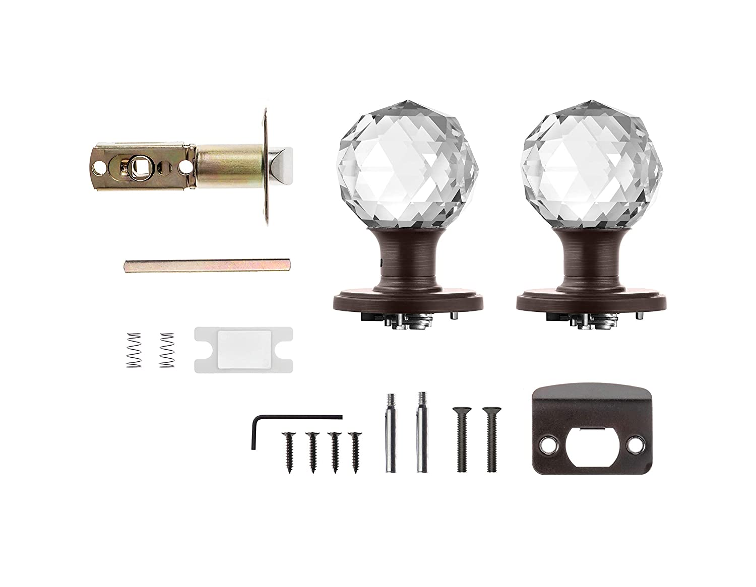 Polished Chrome Privacy Function for Bed and Bath Decor Living AMG and Enchante Accessories Faceted Crystal Door Knobs with Lock IRIS Collection