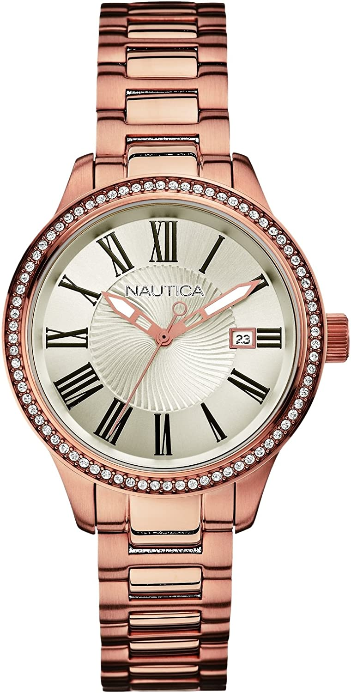 Nautica - Reloj Analógico de Cuarzo para Mujer, Correa de Acero Inoxidable Color Oro Rosa