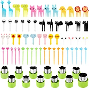 78 Pieces Animal Food Picks and Vegetable Cutter Shape Set, Includes 12 Pieces Stainless Steel Mini Cookie Cutters and 66 Pieces Cute Animal Fruit Food Toothpicks Food Picks for Kids, Baking Supplies