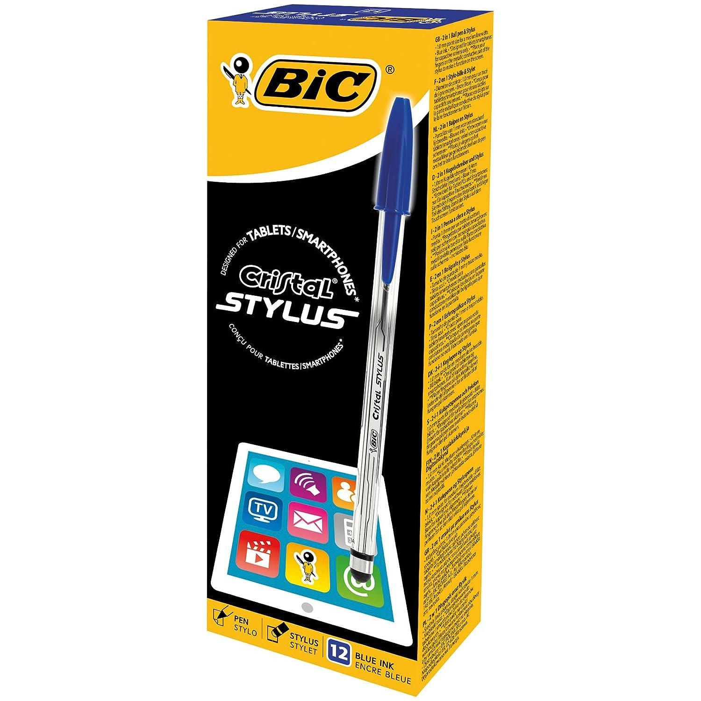 BIC Cristal 113259 Penna stilografica 2in1, 1.0mm, confezione da 12 pezzi, Blu 926388