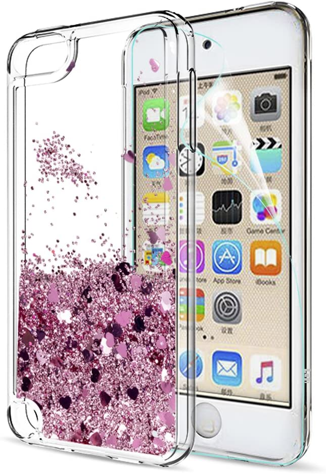 iPod Touch 7 Case, iPod Touch 6 Case, iPod Touch 5 Case with Tempered Glass Screen Protector [2 Pack] for Girls, LeYi Glitter Liquid Clear Phone Case (Rose Gold)