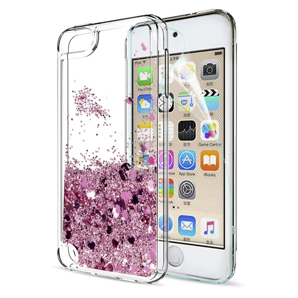 new style 4649b 82bb0 LeYi iPod Touch 7 Case, iPod Touch 6 Case, iPod Touch 5 Case with Screen  Protector for Girls, Shiny Glitter Quicksand Clear TPU Protective Phone  Case ...