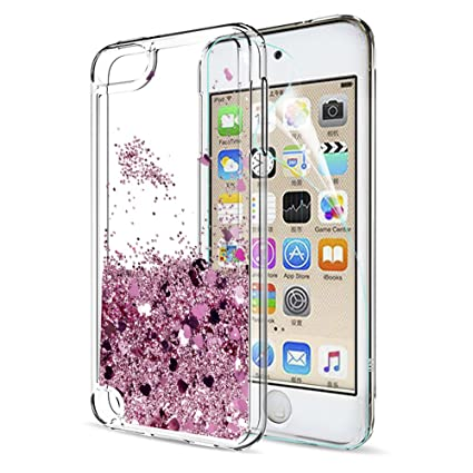 LeYi iPod Touch 7 Case, iPod Touch 6 Case, iPod Touch 5 Case with Screen Protector for Girls, Shiny Glitter Quicksand Clear TPU Protective Phone Case ...