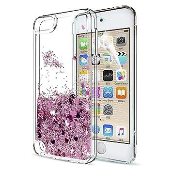 LeYi Funda iPod Touch 7/5 / 6 Silicona Purpurina Carcasa con HD Protectores de Pantalla,Transparente Cristal Bumper Telefono Gel TPU Fundas Case Cover ...