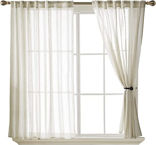 Deconovo-Rod Pocket Sheer Voile Window Curtains, 52W x 63L Inch, Light Beige and White-2