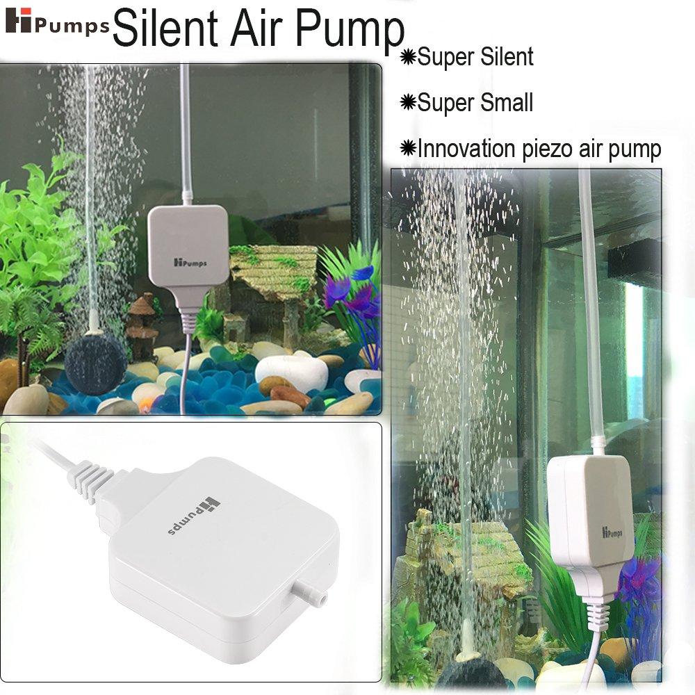 Bomba de aire para acuario Hpumps, supersilenciosa y eficiente. Oxigena el agua para los peces. Con filtro de aire Air Stone, tubo y boquilla: Amazon.es: ...