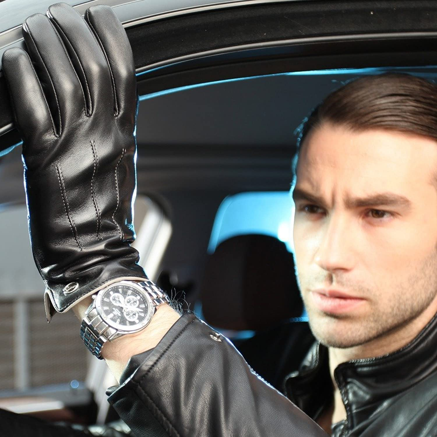 Mens leather gloves for iphone - Luxury Men S Touchscreen Texting Winter Italian Nappa Leather Dress Driving Gloves Cashmere Wool Fleece Lining 8 Us Standard Size Black Fleece