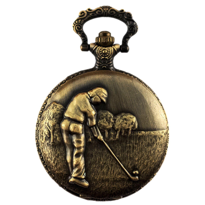 Mens Vintage Design Full Hunter for Golf Pocket Watch + Chain