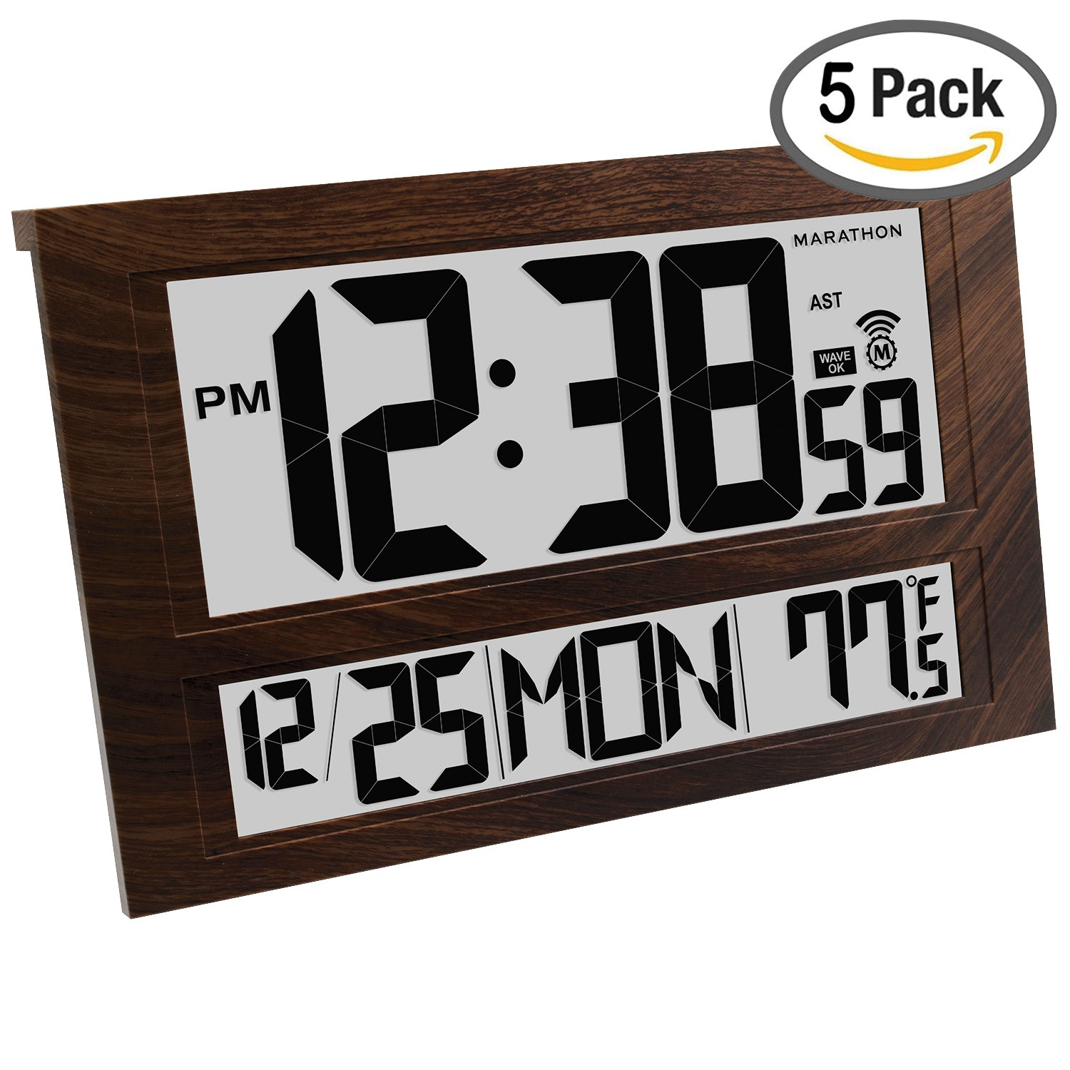 MARATHON CL030025WD/5 Commercial Grade Jumbo Atomic Wall Clock with 6 Time Zones, Indoor Temperature & Date, Wood Grain (5 Pack)