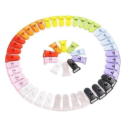 b8ce8285008ac LIHAO Pince à Sucette Bretelle Attache Clip en Plastique - Lot de 50  pièces, 10 couleurs