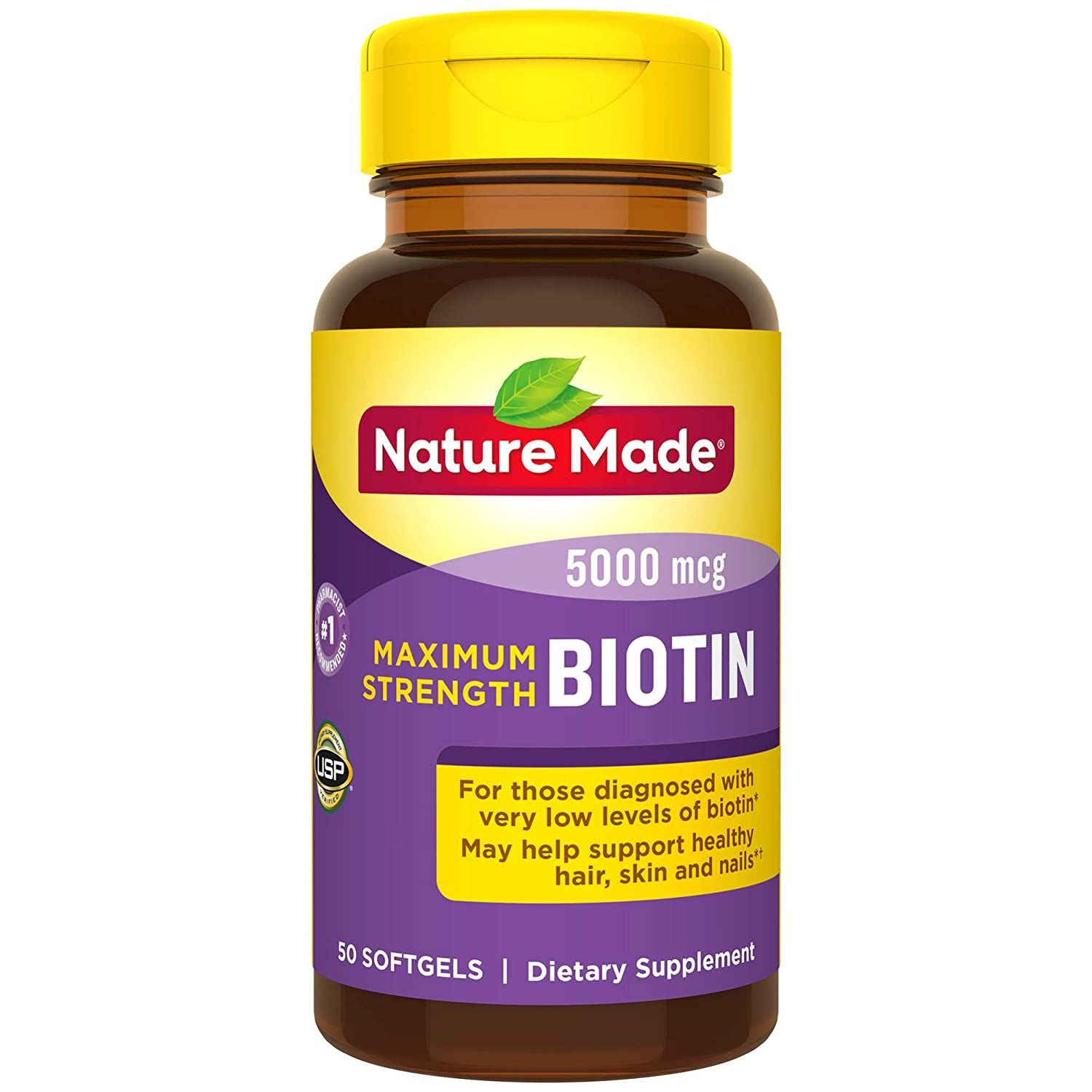 Nature Made Biotin Softgel, 5000 Mcg, 50 Count (Packaging May Vary)