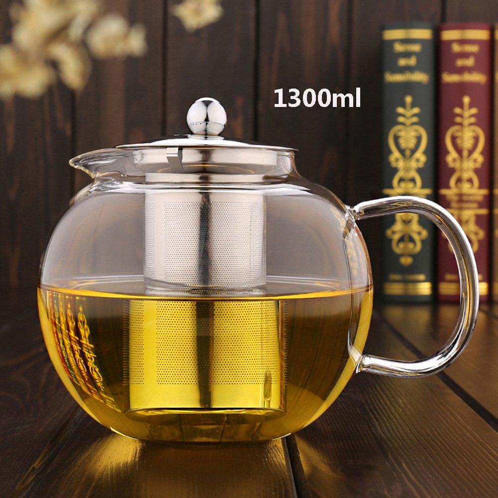 ガラスティーポット、耐熱ステンレススチールtea-leakingティーポットBig Tea漏れ650 ml800ml 1000 ml 1300 mlサイズ1 – 6人ステンレススチール蓋OfficeキッチンDirect暖房Not Easy Drop Tea 1300ml b1i2g118 B078J258D1 D 1300ml