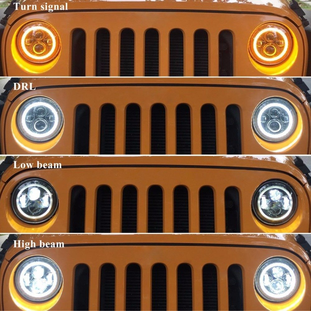 Headlight LED Halo Angel Eye White DRL Amber Turn Lamps 7inch Pair For Freightliner Century Class 1996-2011