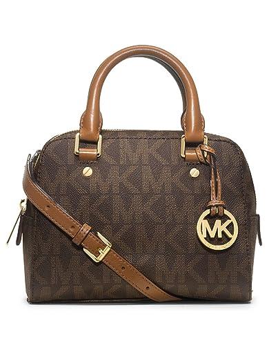 amazon com michael kors jet set travel small satchel brown sig pvc rh amazon com