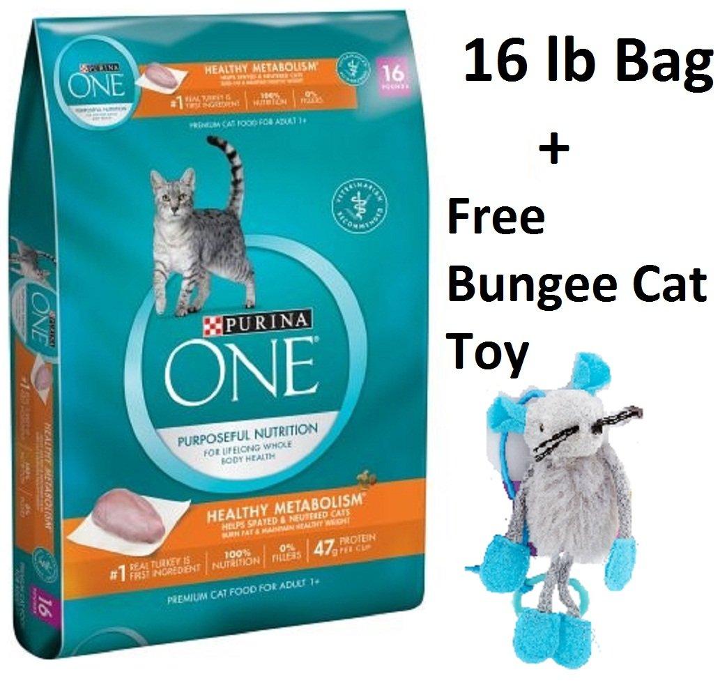 Purina ONE Healthy Metabolism Adult Premium Cat Food (6 Bag - 16 lb. + Free Toy)