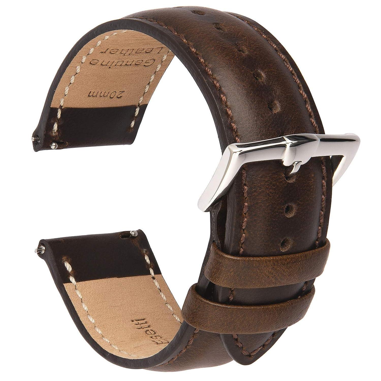 B&E Correa de Reloj de Cuero de Liberación Rápida - Correas de Estilo Elegante para Hombres y Mujeres - 16mm 18 mm 19mm 20 mm 21mm 22 mm