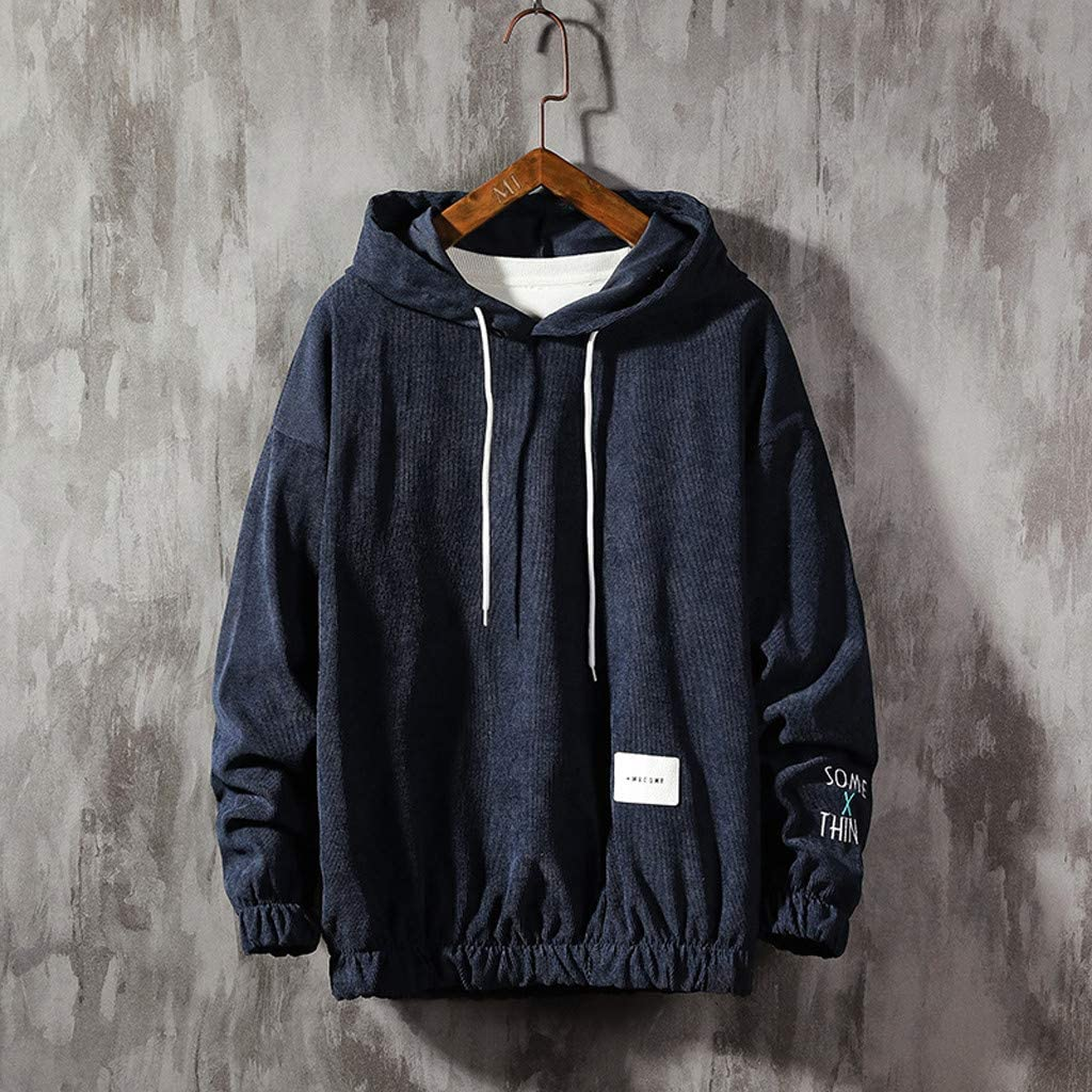 DONTAL Mens Hoodie Casual Patchwork Long Sleeves Sweatershirt Tops Baggy Pullover