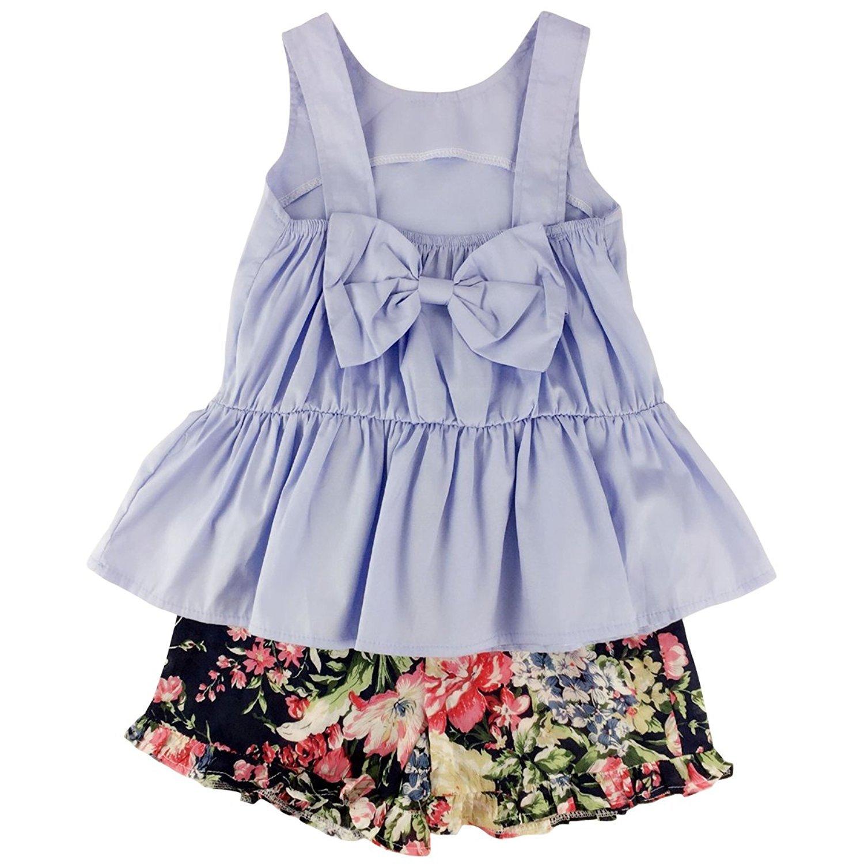 Jastore Kids Girl's Summer Big Bow Vest+Print Short Pant Clothing Set Outfit