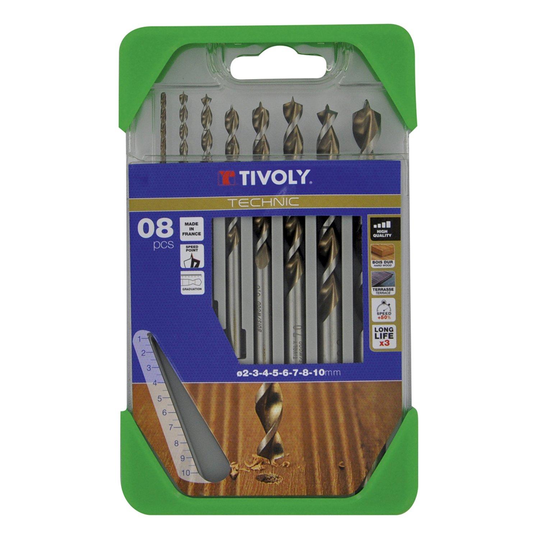 10864070001 8Pcs Wood Graduated Technic Drill Bits Set, Grey, Bronze