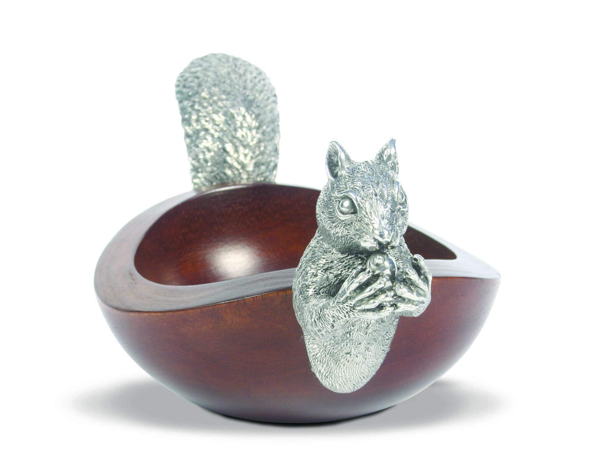 Vagabond House Large Acacia Wood Nut Bowl with Black Forest Pewter Metal Squirrel Head and Tail - 17''Long