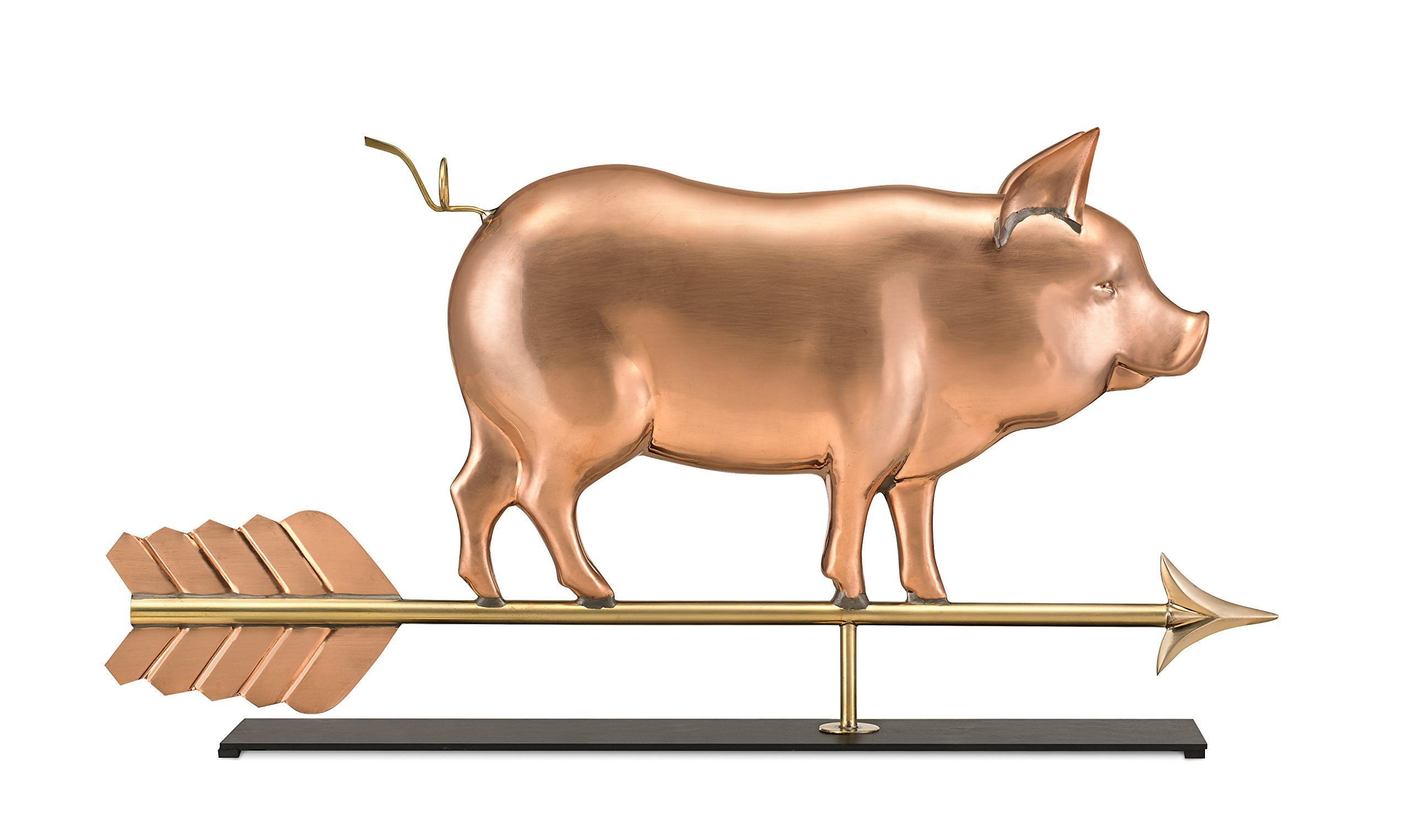 Good Directions Country Pig Pure Copper Weathervane Sculpture on Mantel Stand: Home Décor