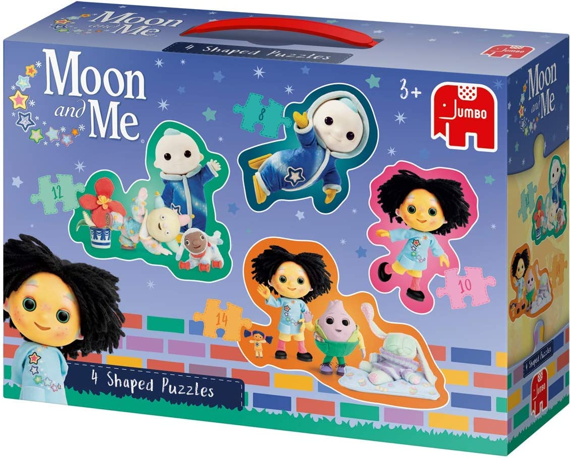 Jumbo 19743 Moon and Me 4 in 1 Shaped Puzzles,