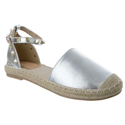 Mujer Tacón Bajo Plano Tira en Tobillo Con Tachuelas Alpargatas De Verano Sandalias Zapatillas número: Amazon.es: Zapatos y complementos