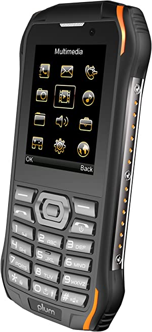 Plum Ram 7-4G Rugged Unlocked Phone Water Shock Proof ATT Tmobile Cricket, Metro, Straight Talk, Consumer Cellular, Black Orange