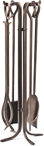 Plow & Hearth Tall 5 Piece Hand Forged Iron Fireplace Tool Set with Poker, Tongs, Shovel, Broom, and Stand 7-in Diam. x 32.5 H Bronze