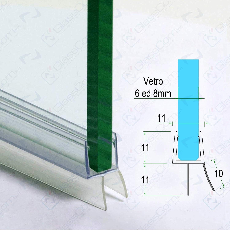 Junta para mampara de ducha de 1,10 m, transparente, con doble solapa, para cristal de 6 o 8 mm: Amazon.es: Bricolaje y herramientas