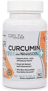 Delta Nutrition Curcumin+ w/NovaSOL Liquid Micelle Technology - 185x More Bioavailable Than 95% Standardized Native Curcumin - 60mg per Serving