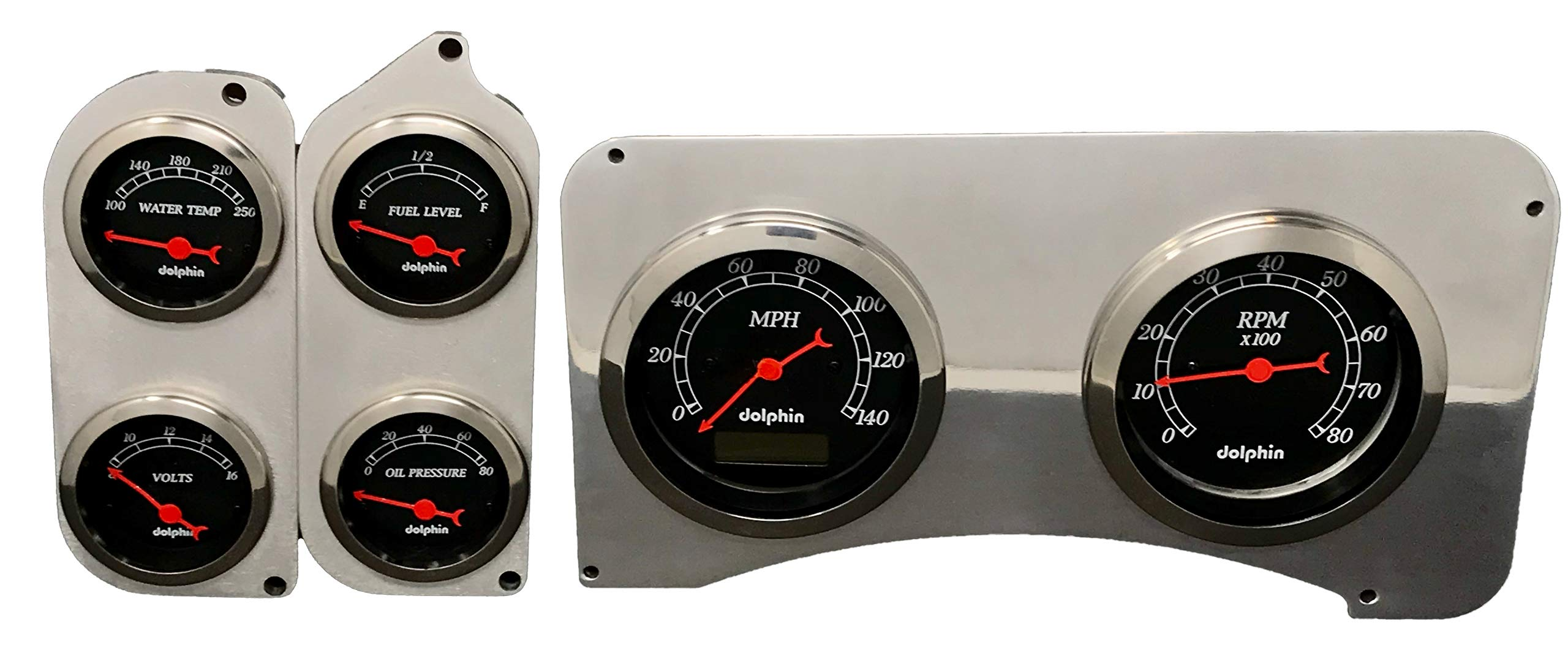 Dolphin Gauges 1973 1974 1975 1976 1977 1978 1979 1980 Chevy Truck 6 Gauge Dash Cluster Panel Set Programmable Black by Dolphin Gauges