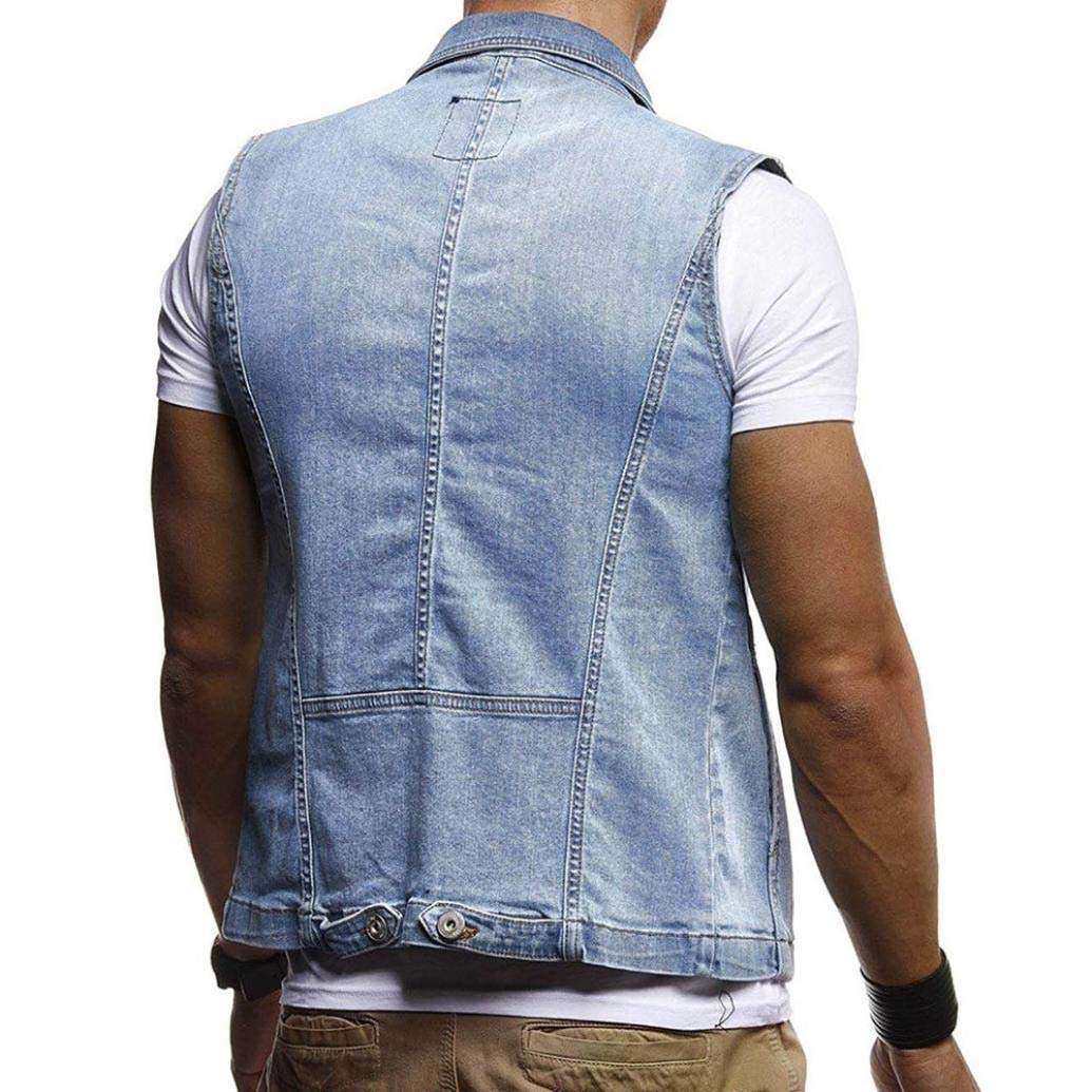 SPE969 Denim Jacket Mens Autumn Winter Destroyed Vintage Waistcoat Blouse Vest Tops