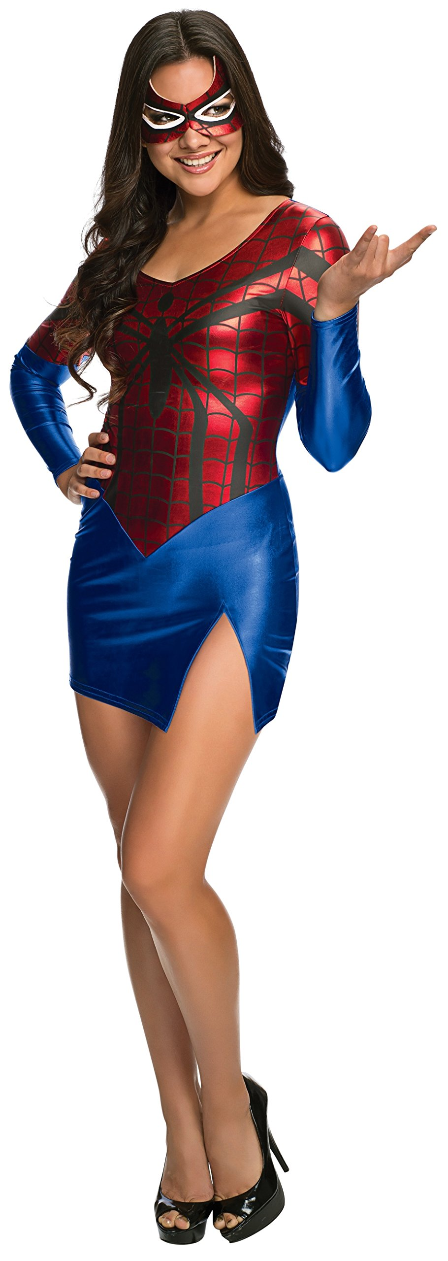 - 71 2BPnEIbdmL - Marvel Secret Wishes Women's Universe Spidergirl Costume Dress and Mask