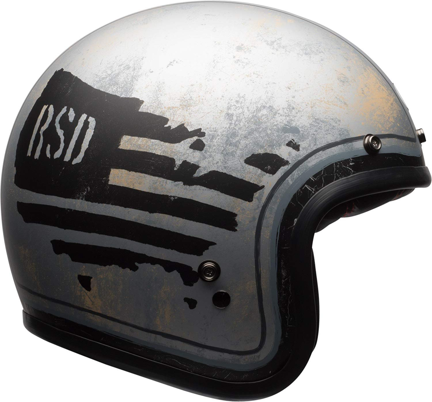 RSD WHO Gloss White//Red, Medium Bell Custom 500 Special Edition Open-Face Motorcycle Helmet