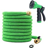 100 ft Garden Hose - Upgraded Expandable Water Hose Kit with 3/4 Solid Brass Connectors Fittings, Valve, 8 Pattern Spray Nozzle, Durable Latex Core - New Expanding Flexible Gardening Hose (100FT)