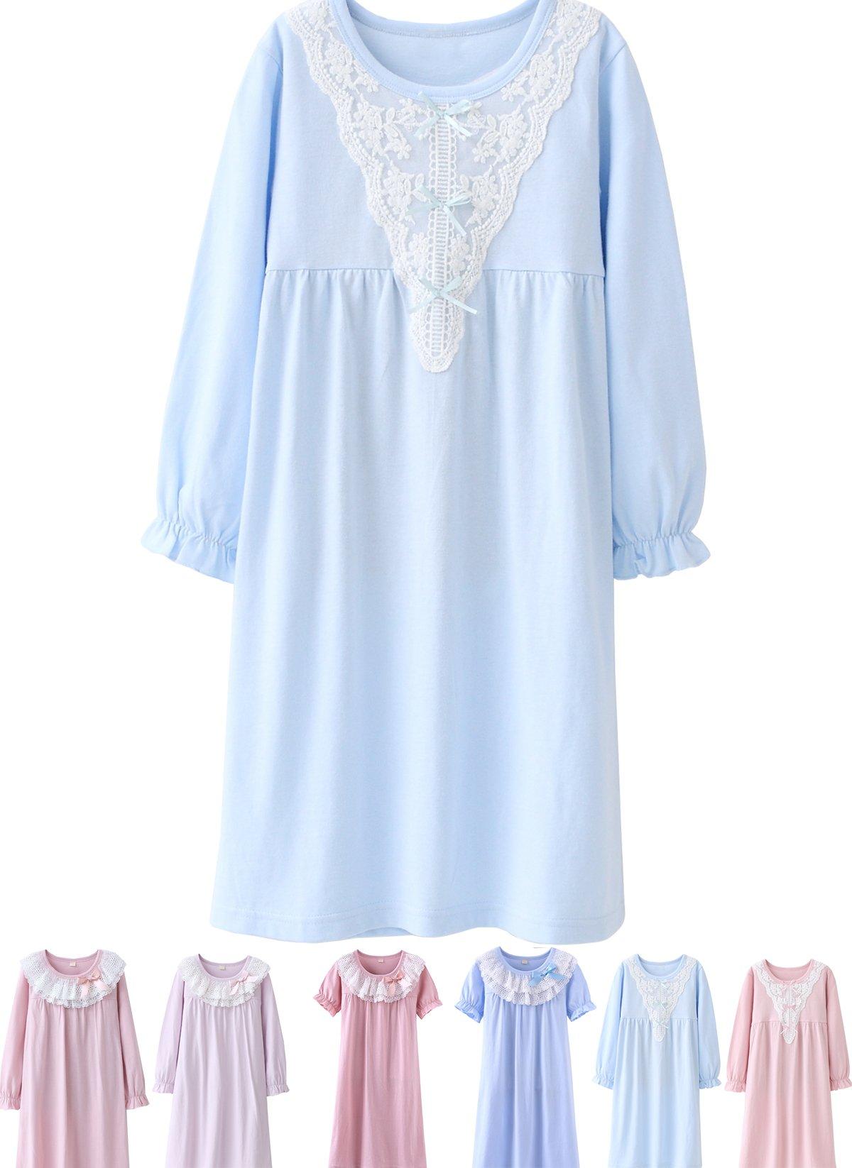 Abalaco Girls Kids Princess Lace Bowknot Nightgown Long Sleeve Cotton Sleepwear Dress Pretty V-neck Like Loose Homewear Dress 4-5 Years V/Blue