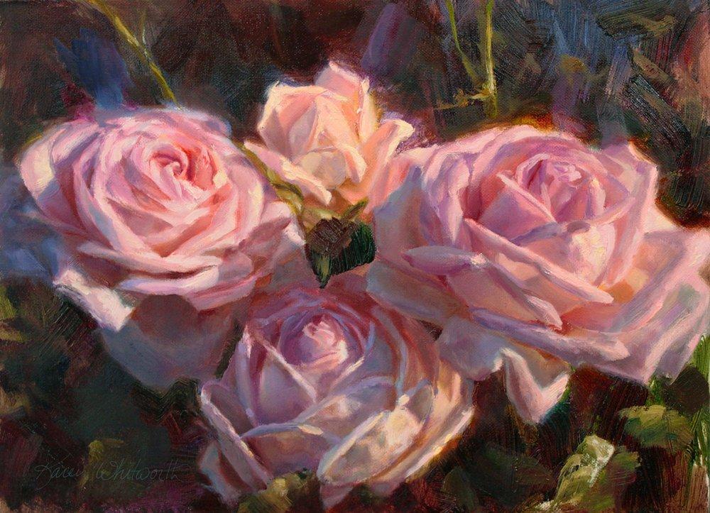 5x7 Pink Roses Garden Wall Art Print Floral Painting Artwork By Karen Whitworth Handmade