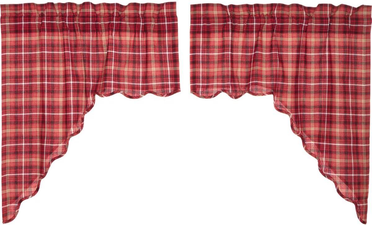 VHC Rustic Shower Curtain Braxton Bath Rod Pocket Red Cotton Plaid