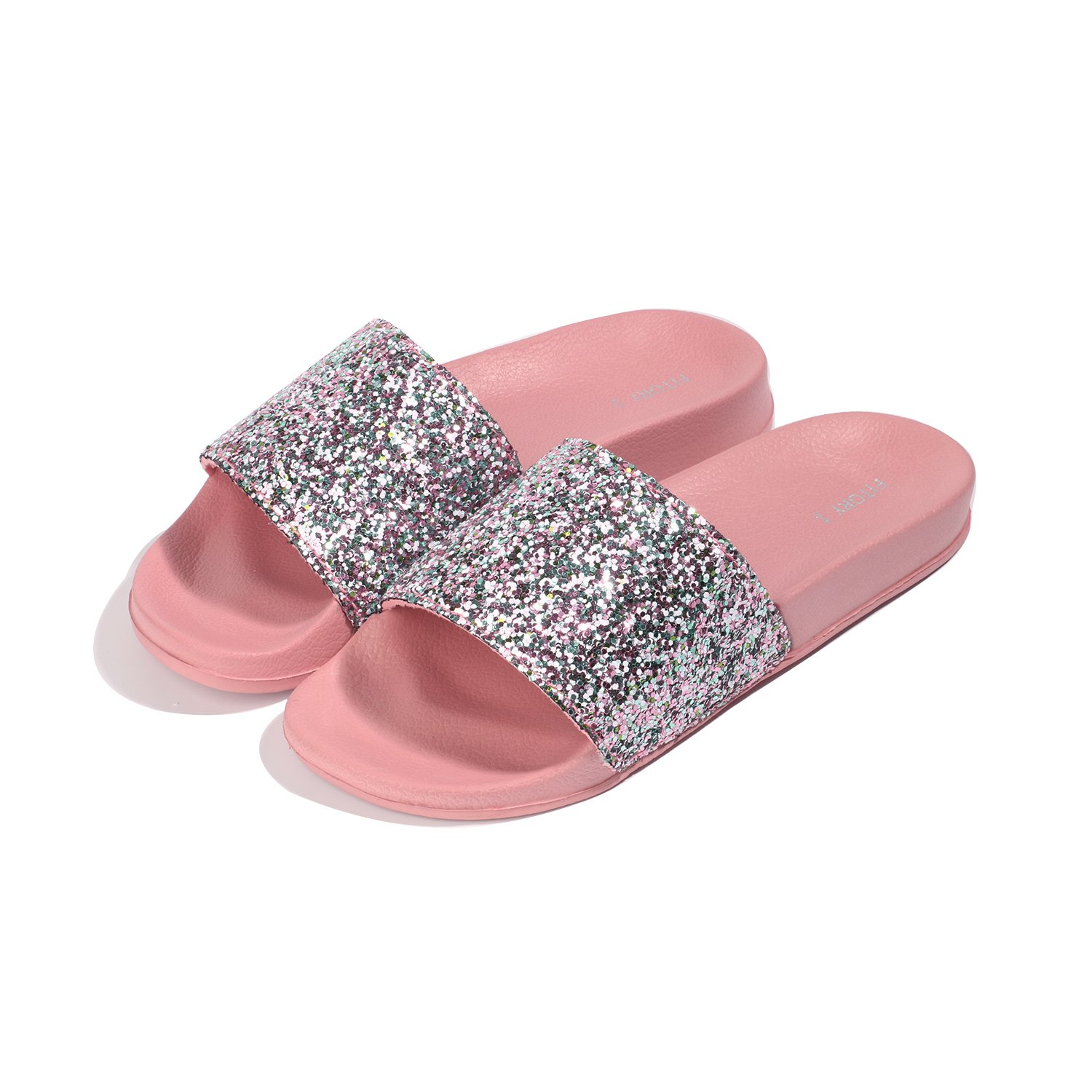 f37b3807b FITORY Women Slides, Sparkly Glitter Arch Support Slippers with Bling Slip  on Flats Sandals for Summer Pink: Amazon.ca: Shoes & Handbags