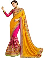 Magneitta Women's Georgette Saree With Blouse Piece (93094,Yellow & Pink,Free Size)