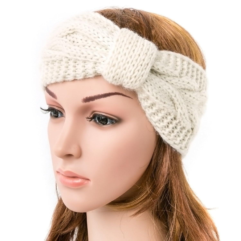 NISHAER Women\'s Wide Chunky Cable Knitted Turban Headband, Beige ...