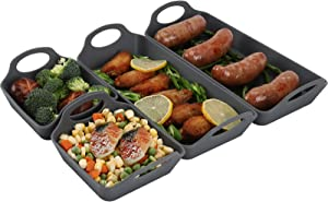 Silicone Baking Sheet Pan Dividers,Sturdy Heatproof Handles Nonstick Tray,Simplify Cooking Bakeware Accessories Set for Meal Prep,Easy to Clean,Oven Safe