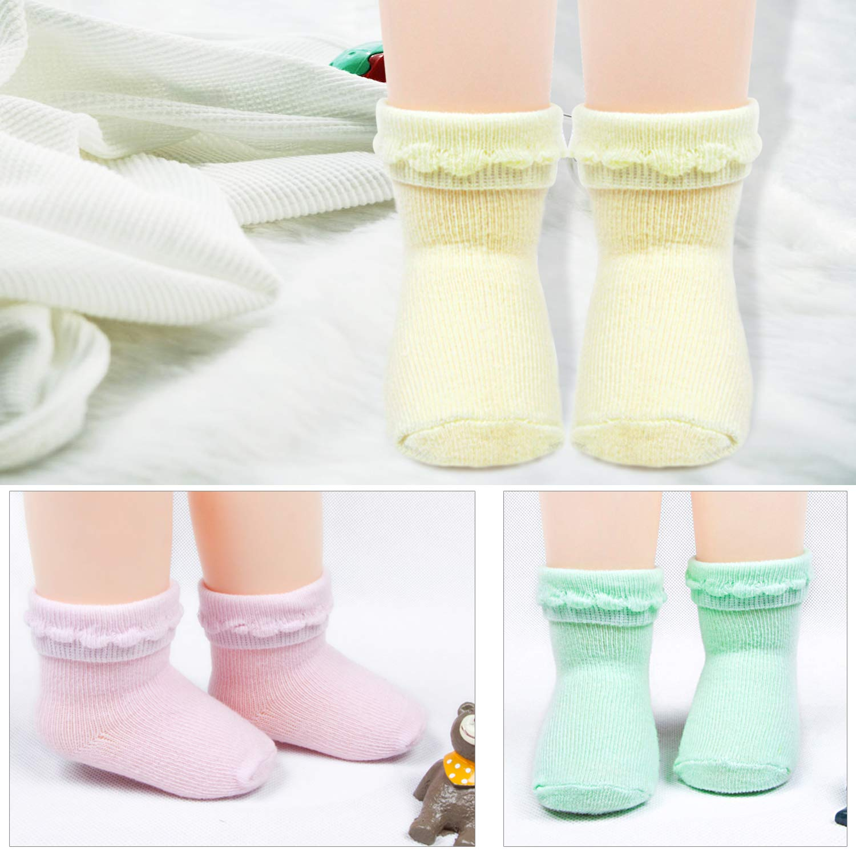 abcGoodefg Unisex Newborn Baby Socks with Rolled Cuff Design 6 Pack