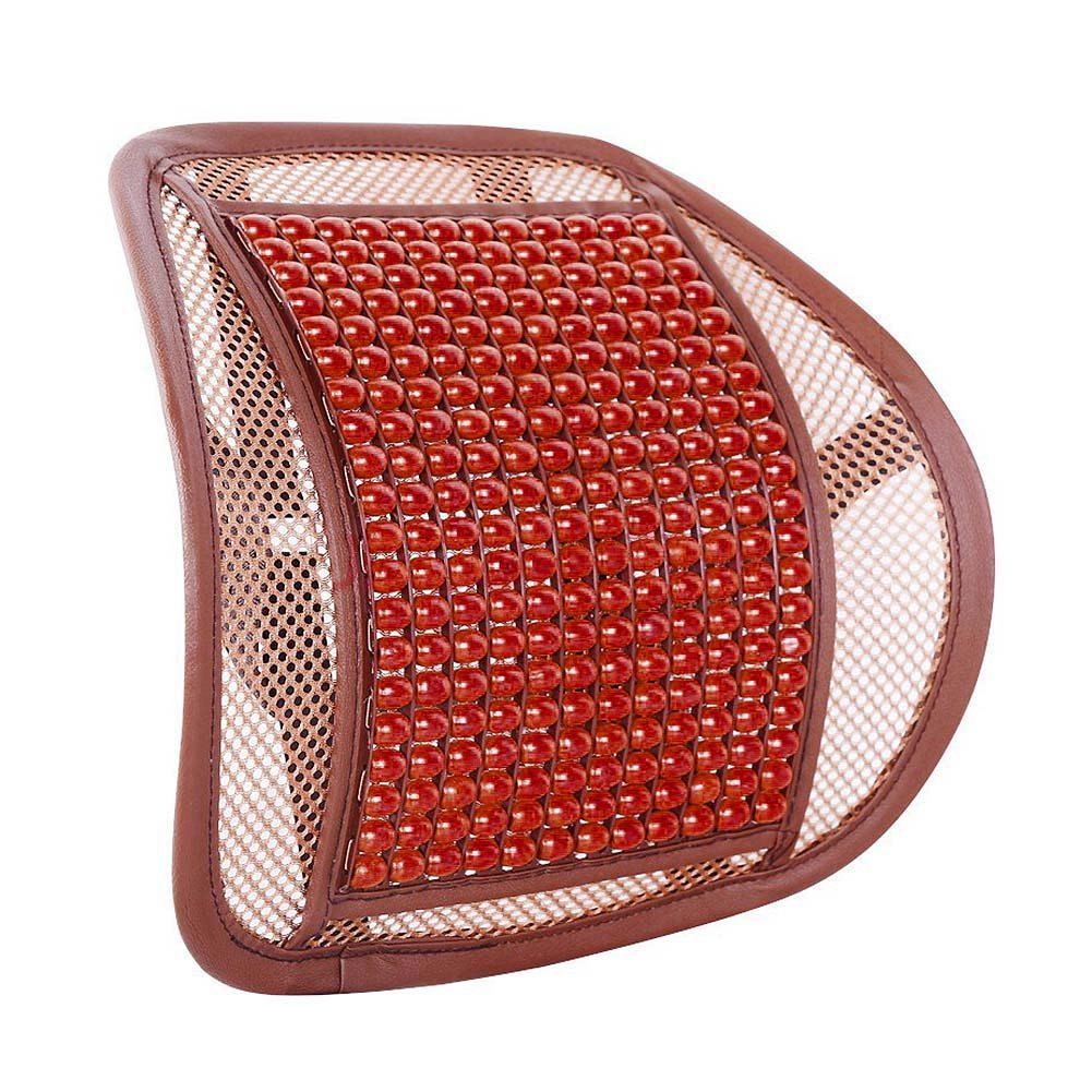 ROKOO Car Seat Support Cushion Wood Beads Waist Back Massage Mesh Pad for Auto Office Home